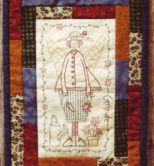 Gertrude the Garden Angel Stitchery Pattern