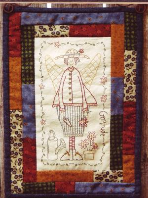 Gertrude the Garden Angel Stitchery Pattern