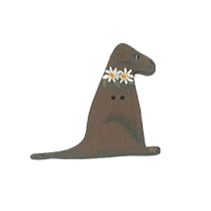 Miss Lizzie wooden dog button