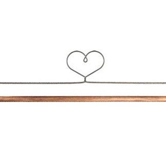 12 inch Heart Top Wire Hanger with 0.25 inch Dowel