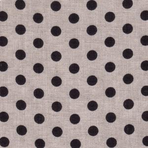 Black Polka Dot on Natural Linen