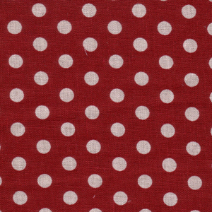 Natural Polka Dots on Red Coloured Linen