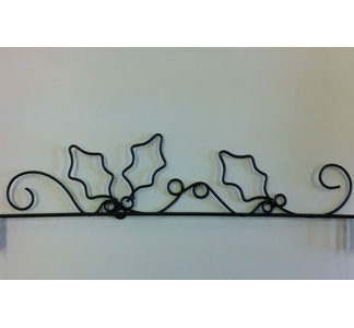 12 inch Holly Wire Hanger in Grey