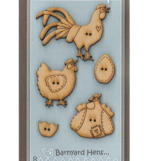 Barnyard Hens wooden button set