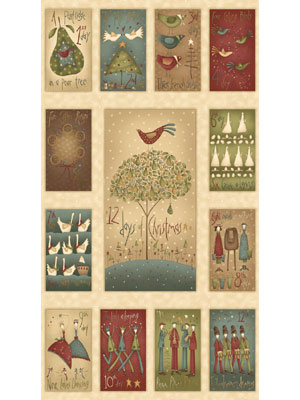 12 Days of Christmas Panel by Hatched & Patched
