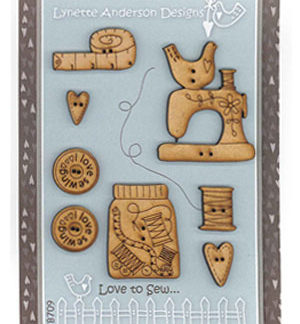 Love to Sew wooden button set