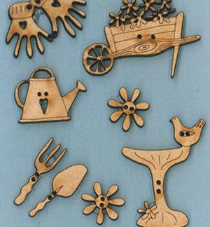 Grandmas Garden wooden buttons