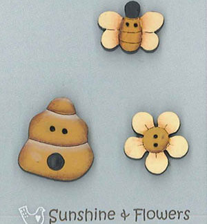 Sunshine and Flowers handpainted wood buttons