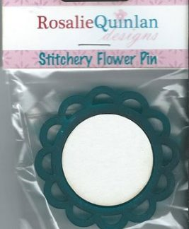 Rosalie Quinlan Stitchery Flower Pin - Blue