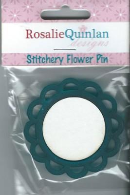 Rosalie Quinlan Stitchery Flower Pin - Blue