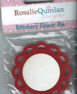 Rosalie Quinlan Stitchery Flower Pin - Red