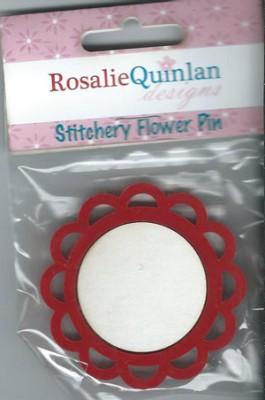 Rosalie Quinlan Stitchery Flower Pin - Red