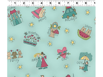 Heart & Home fabric - Characters on Light Teal