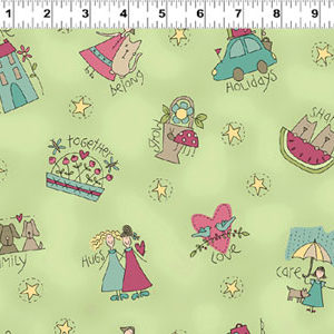 Heart & Home fabric - Characters on Light Olive