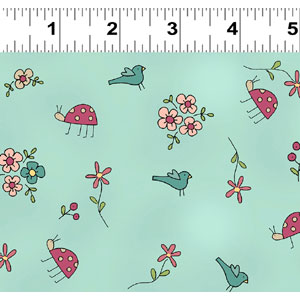 Heart & Home fabric - Bugs & Birds on Light Teal