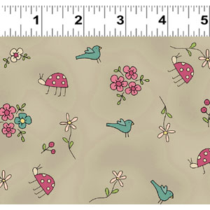 Heart & Home fabric - Bugs & Birds on Taupe