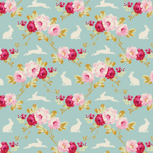 Tilda - Memory Lane - Rabbit & Roses Teal fat 1/4