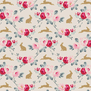 Tilda - Memory Lane - Rabbit & Roses Slate fat 1/4