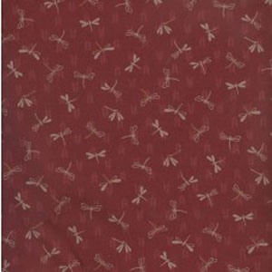 Japanese Print Fabric - Red Dragonfly
