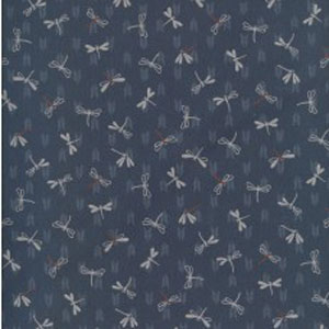 Japanese Print Fabric - Mid Blue Dragonfly