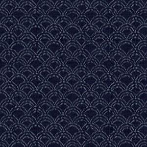 Hyakka Ryoran Indigo - Scallops on Dark Blue