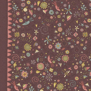 Garden Whimsy - Large Floral Border Raisin fat 1/4