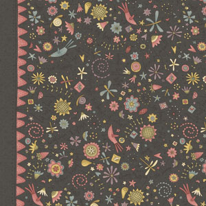 Garden Whimsy - Large Floral Border Charcoal fat 1/4