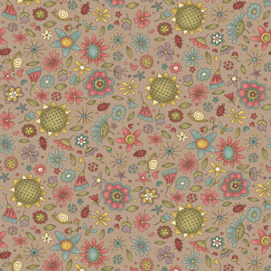 Garden Whimsy - Small Floral Toss Taupe fat 1/4