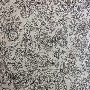 Colour-me-in Butterfly Fabric
