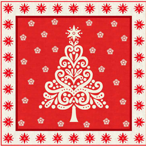 "Scandinavian Christmas 10"" Squares Panel - Red"