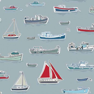 Marina - Boats on Grey Blue Fabric