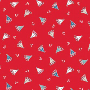 Marina - Tossed Yachts on Red Fabric