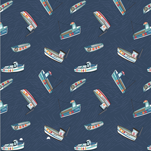 Harbourside Fishing Boats on Blue Fabric