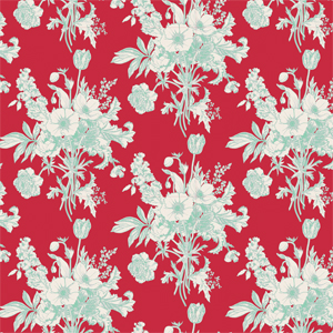 Tilda Cottage - Botanical Red Fabric