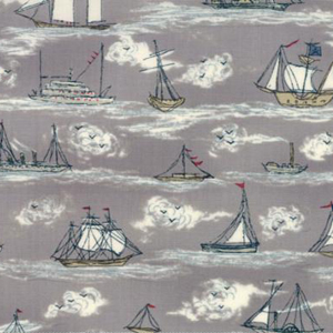 Ahoy Me Hearties -Busy Seas on Pebble fabric