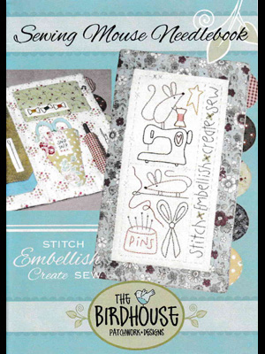 Sewing Mouse Needlebook pattern & pre-printed stitchery