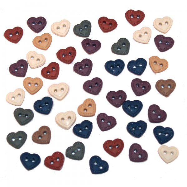 Stitched Hearts Miniature Heart Collection Button Pack