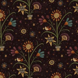 My Back Porch - Large Folk Purple Flowers Fabric