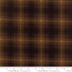 Wool & Needle Flannel - Brown Bark Check Fabric