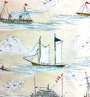 Ahoy Me Hearties- Busy Seas on Pearl fabric fat quarters