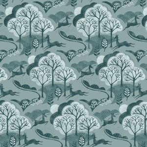 Into The Woods - Trees Blue fabric
