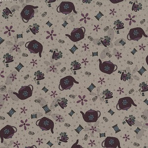Needles & Pins - Teapots on Mauve fabric