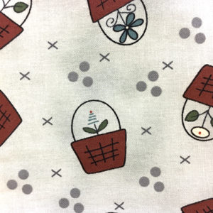 Baskets in Bloom - Baskets on Lt Grey fabric
