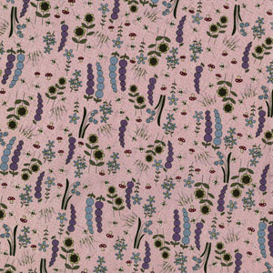 Garden on mauve fabric