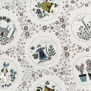 Garden characters on dark cream fabric