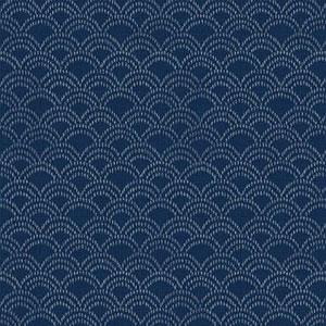 Hyakka Ryoran Indigo - Scallops on Mid Blue Fat 1/4