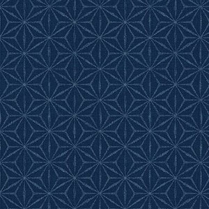 Hyakka Ryoran Indigo - Indigo Grid on Mid Blue Fat 1/4