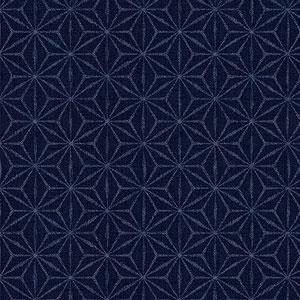 Hyakka Ryoran Indigo - Indigo Grid on Dark Blue Fat 1/4