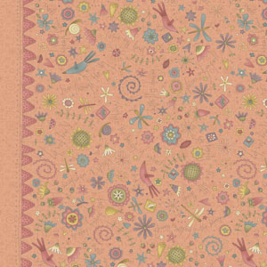 Garden Whimsy - Large Floral Border Peachy Pink fabric