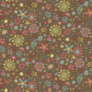 Garden Whimsy - Small Floral Toss Tobacco fabric
